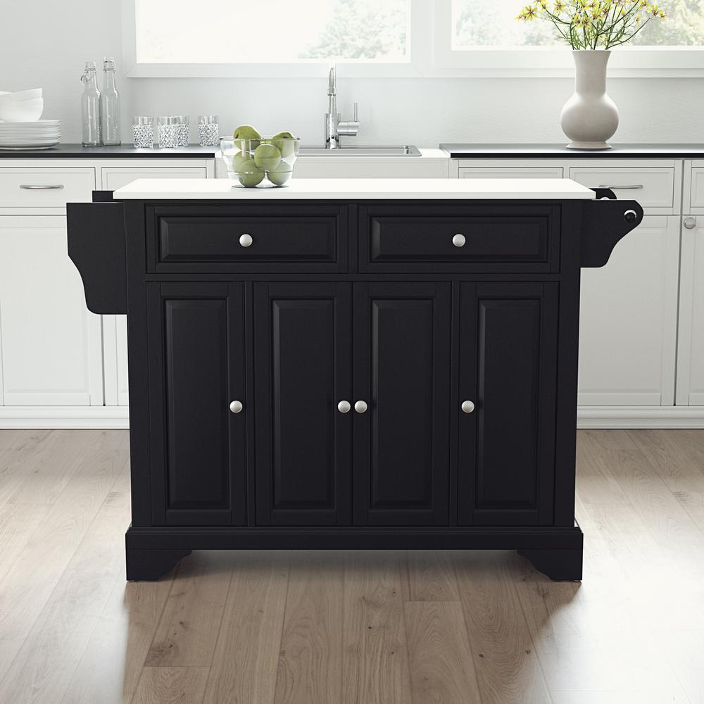 Lafayette Black Full Size Kitchen Island/Cart with Granite Top