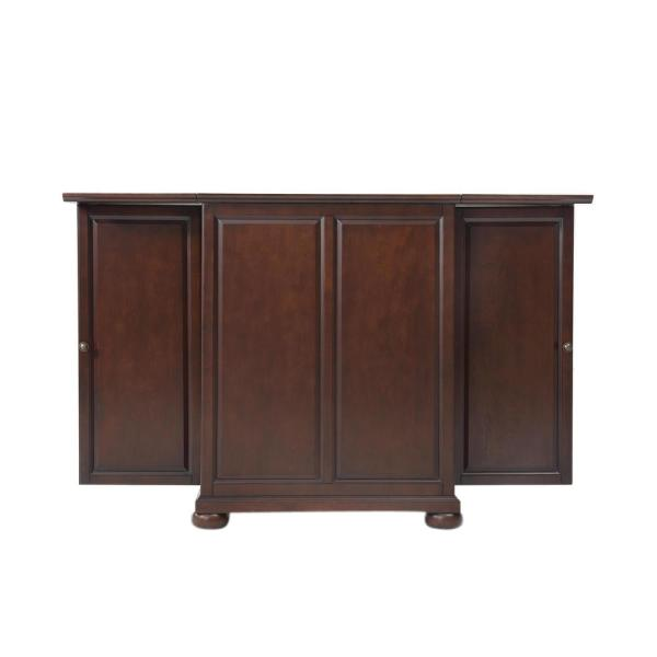Crosley Alexandria Mahogany Bar with Expandable Storage