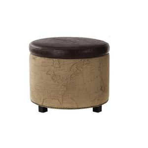 Chambers Round Canvas Shoe Ottoman in Brown