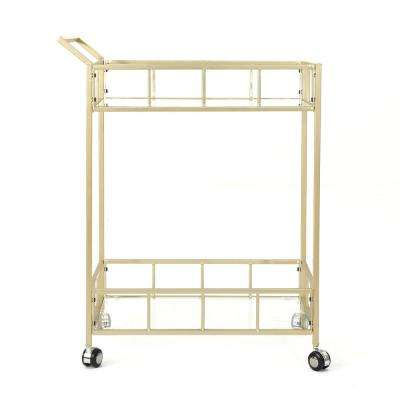 Varadero Modern Glam Gold Iron and Glass Patio Serving Cart