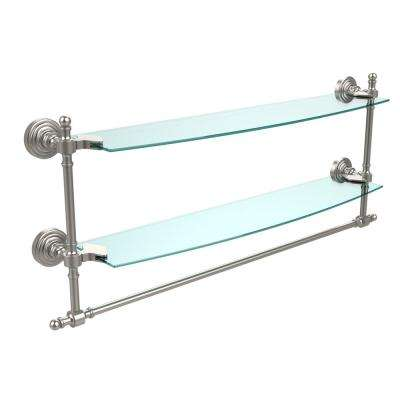 Retro Wave Collection 24 in. Two Tiered Glass Shelf with Integrated Towel Bar in Satin Nickel
