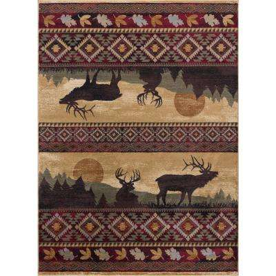 Nature Red 5 ft. x 7 ft. Lodge Area Rug
