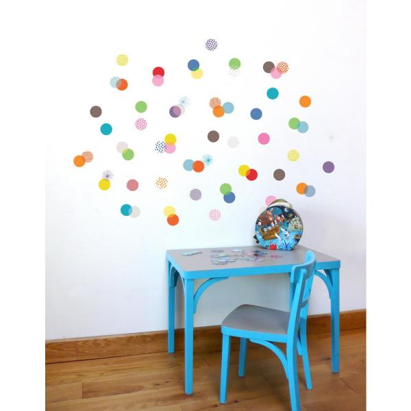 Adzif (36 in x 26 in) Multi-Color ''Confettis'' Kids Wall Decal
