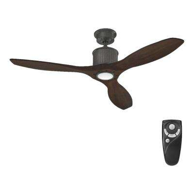 Reagan II 52 in. LED Indoor Natural Iron Ceiling Fan with Light Kit and Remote Control