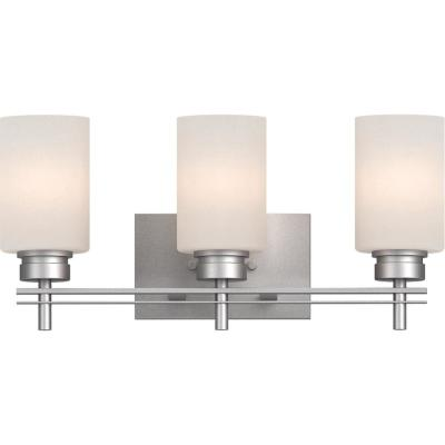 Carena 7.875 in. 3-Light Indoor Nickel Bath or Vanity Wall Mount Sconce with Etched White Cased Glass Cylinder Shades