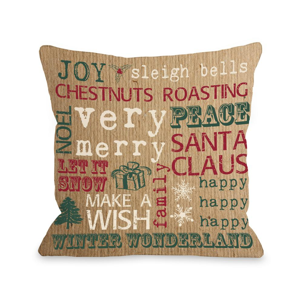 christmas words paper 16 in x 16 in decorative pillow