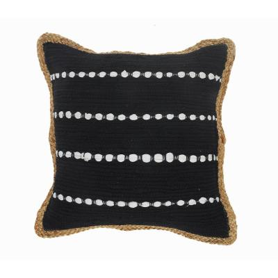 Kone Black and White Border Striped Textured Poly-fill 18 in. x 18 in. Throw Pillow