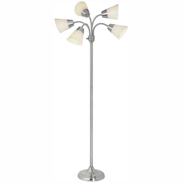 Hampton Bay Title 20 66 In H Brushed Nickel 5 Head Integrated Led Floor Lamp Af37917r Ca The Home Depot