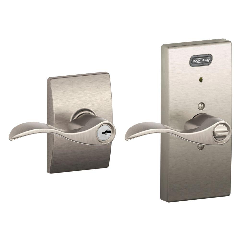 Schlage Century Collection Accent Satin Nickel Keyed Entry with Built-In Alarm
