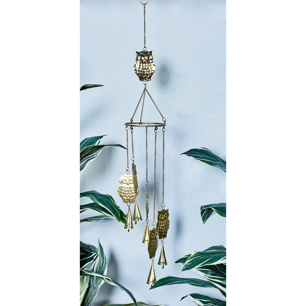 Gold, Silver and Copper Iron Owls and Bells Wind Chimes (Set