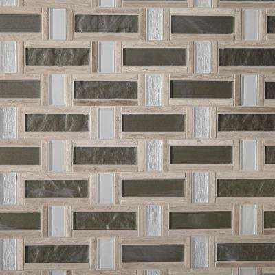 Stone Decor Greystone 12 in. x 12 in. x 6.35mm Stone and Glass Basket Weave Mosaic Wall Tile (1 sq. ft. / piece)