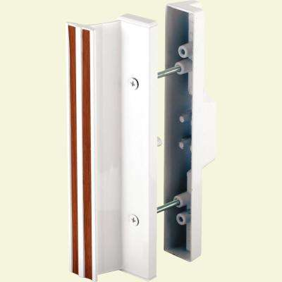 3-15/16 in., White Diecast, Mortise Style Sliding Patio Door Handle