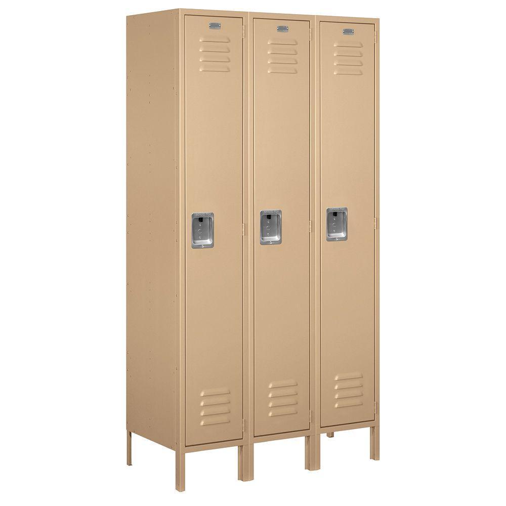 51000 Series 45 in. W x 78 in. H x 18 in. D Single Tier Extra Wide Metal Locker Assembled in Tan