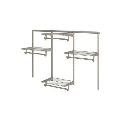 Closet Culture 16 in. x 72 in. W x 48 in. H Wire Closet System with 4 Champagne Nickel Shelves