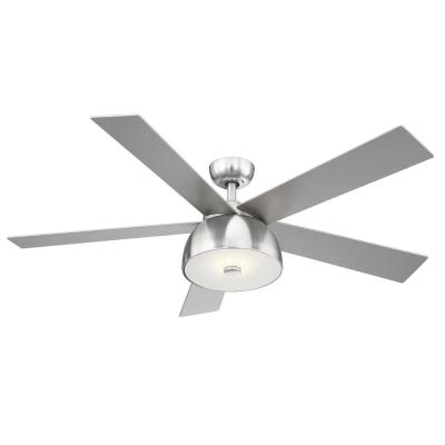 Lestat 52 in. LED Integrated Brush Nickel Light 5 Blade Ceiling Fan with Remote