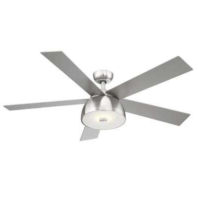 Lestat 52 in. LED Integrated Light 4 Blade Ceiling Fan Brush Nickel with Remote
