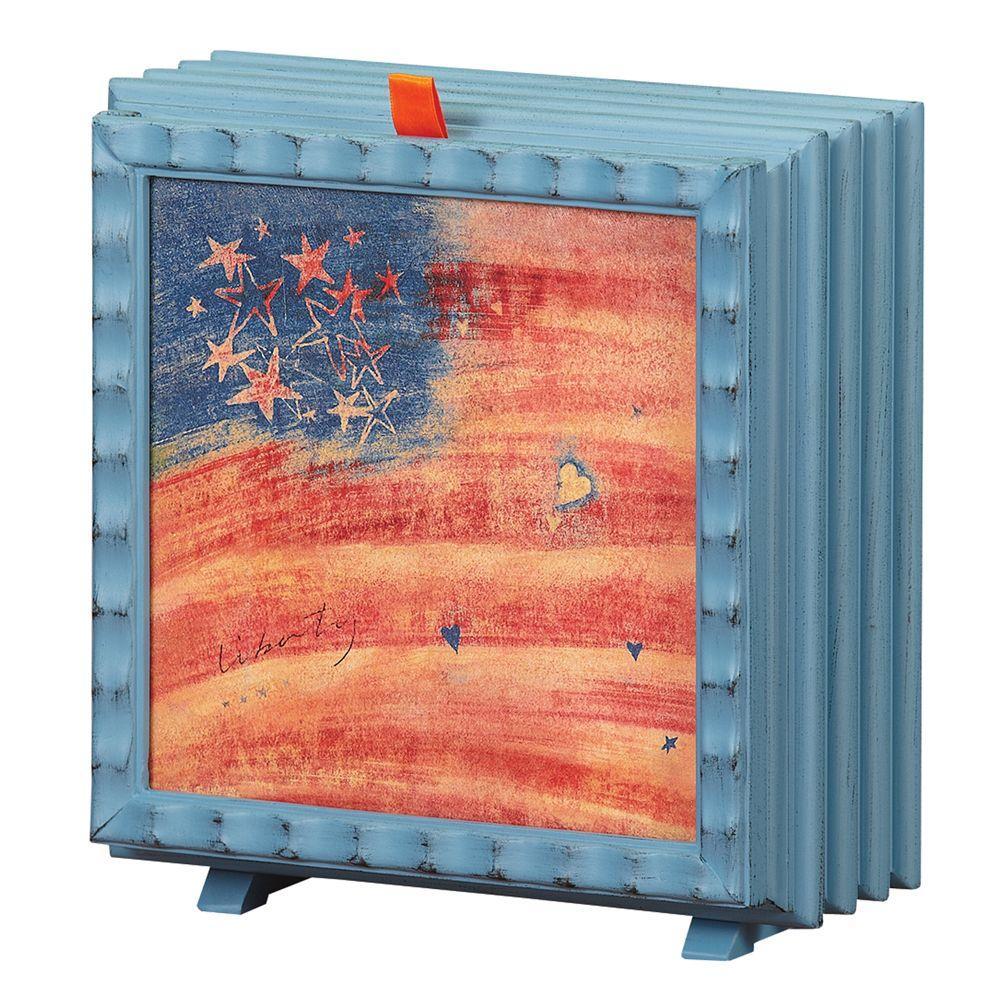 null 7 in. Debbie Taylor Kerman Fan-Liberty Flag