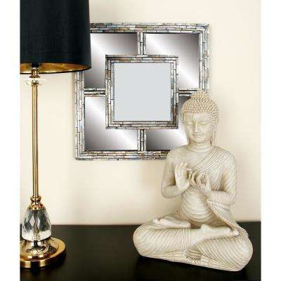 18 in. x 18 in. Modern Blue Framed Wall Mirrors (Set of 4)