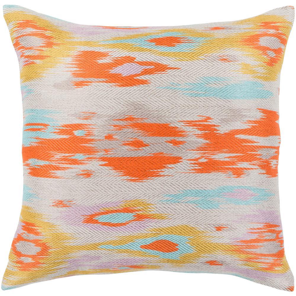 Libertas 18 in. x 18 in. Orange Graphic Polyester Standard Throw Pillow