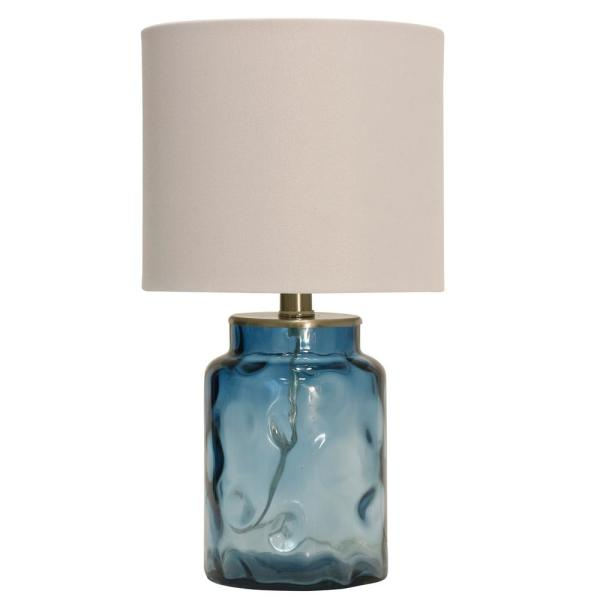 Stylecraft 25 5 In Blue Table Lamp With White Hardback Fabric Shade Tl13695ds The Home Depot