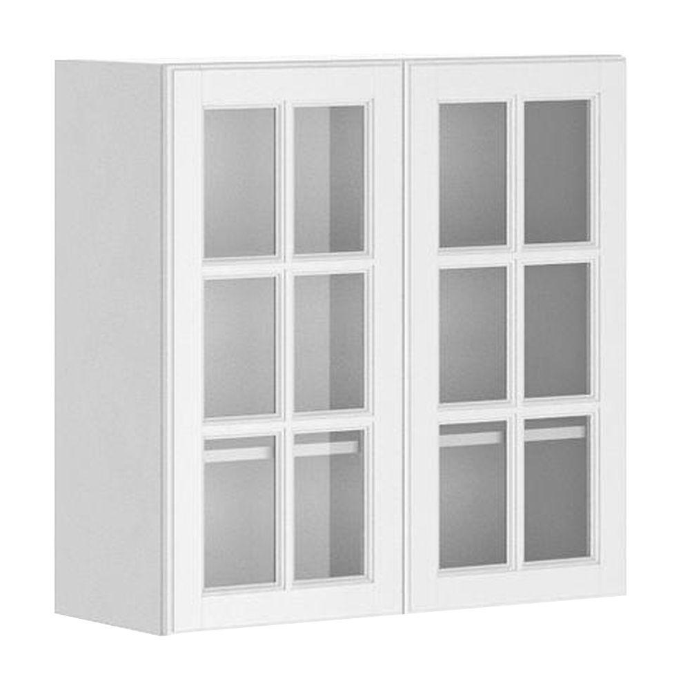 Fabritec Ready To Assemble 30x30x125 In Birmingham Wall Cabinet White Melamine And Glass Door WG3030WBIRMI