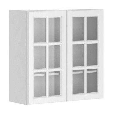 Ready to Assemble 30x30x12.5 in. Birmingham Wall Cabinet in White Melamine and Glass Door in White