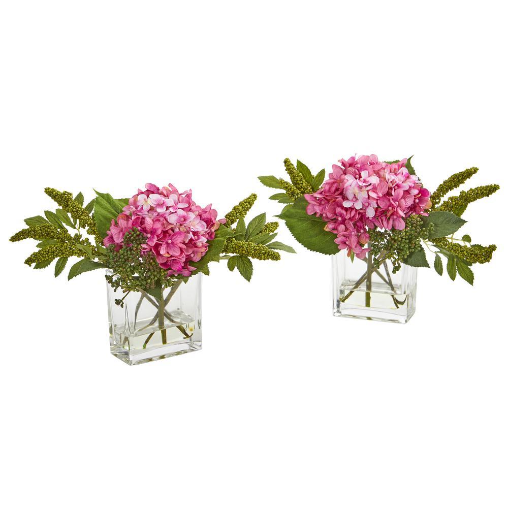 Hydrangea Artificial Arrangement in Vase (Set of 2)