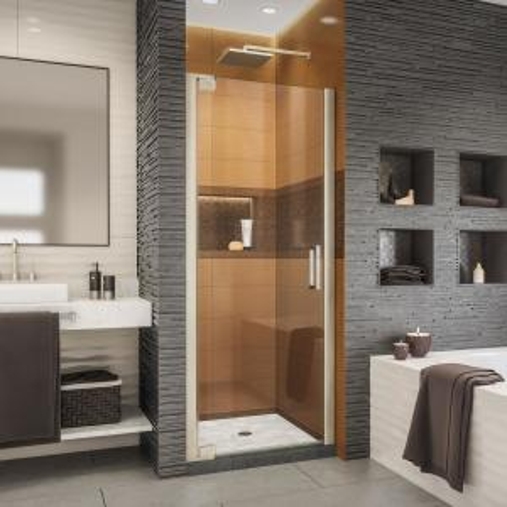 Elegance-LS 27 in. to 29 in. W x 72 in. H Frameless Pivot Shower Door in Brushed Nickel