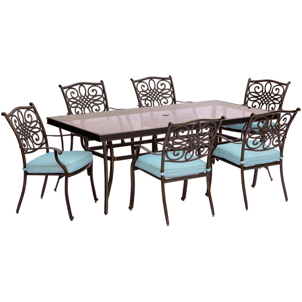 Cambridge Seasons 7 Piece Aluminum Outdoor Dining Set With Blue Cushions Extra Large Gl Top Table