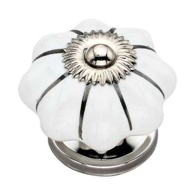 Silver Stripe 1.57 in. Melon Cabinet Knob