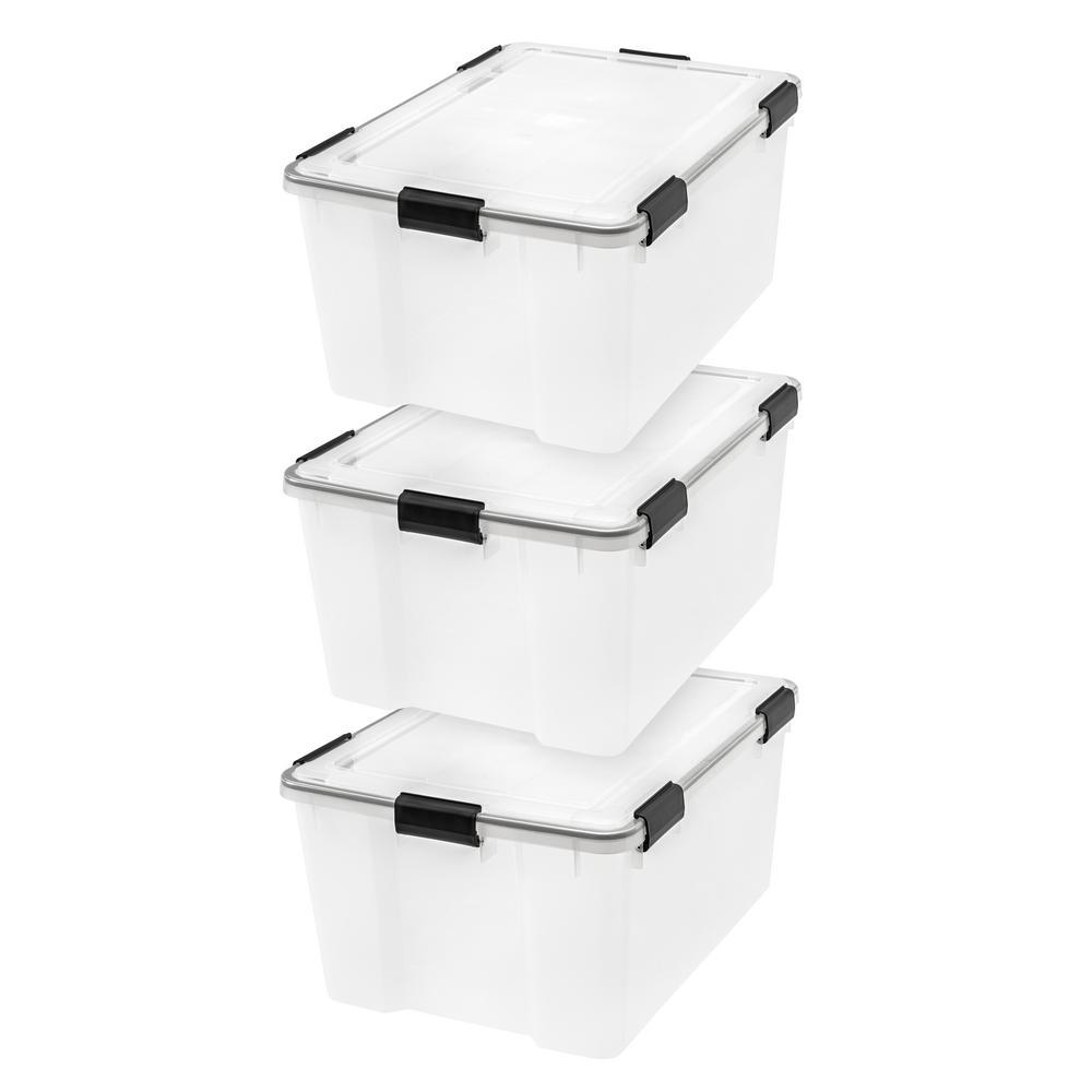 62 Qt. WEATHERTIGHT Storage Box in Clear (3-Pack)
