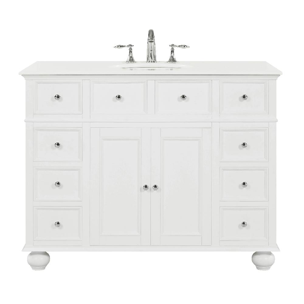 Home Decorators Collection Hampton Harbor 44 in. W x 22 in. D in White Bath Vanity with  Natural Marble Vanity Top in White with White Sink