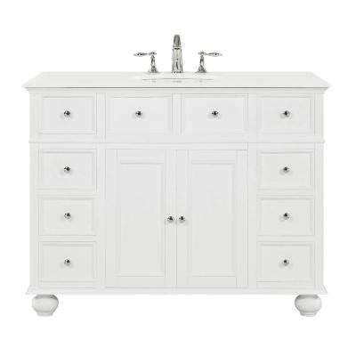 Hampton Harbor 44 in. W x 22 in. D in White Bath Vanity with  Natural Marble Vanity Top in White with White Sink