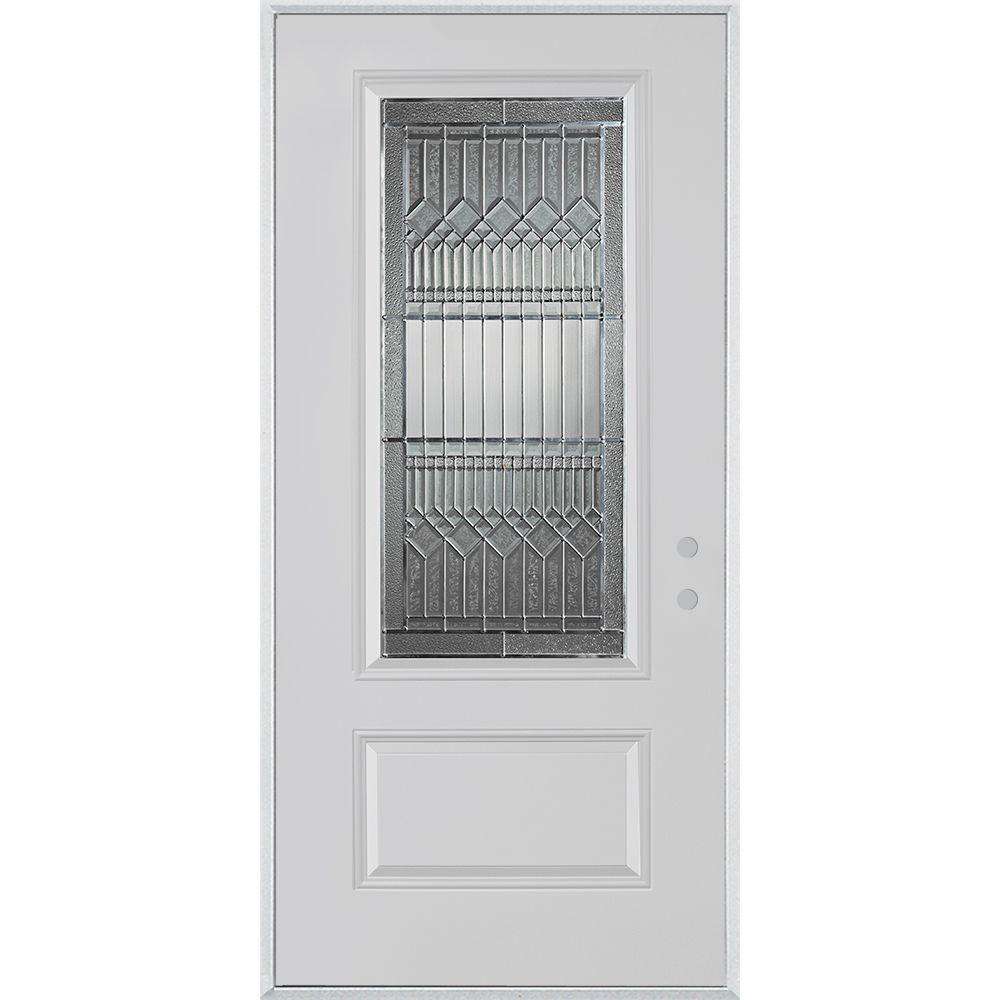 36 in. x 80 in. Lanza Zinc 3/4 Lite 1-Panel Painted