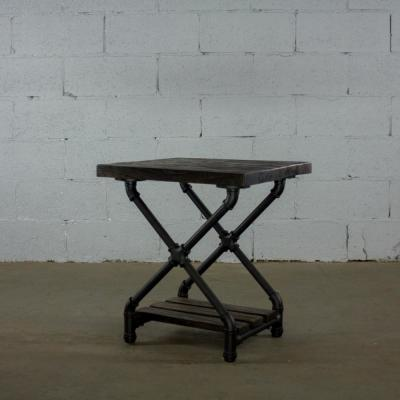 Black Steel Industrial Pipe 2-Tier X Style End Table Nightstand with Reclaimed Aged Wood