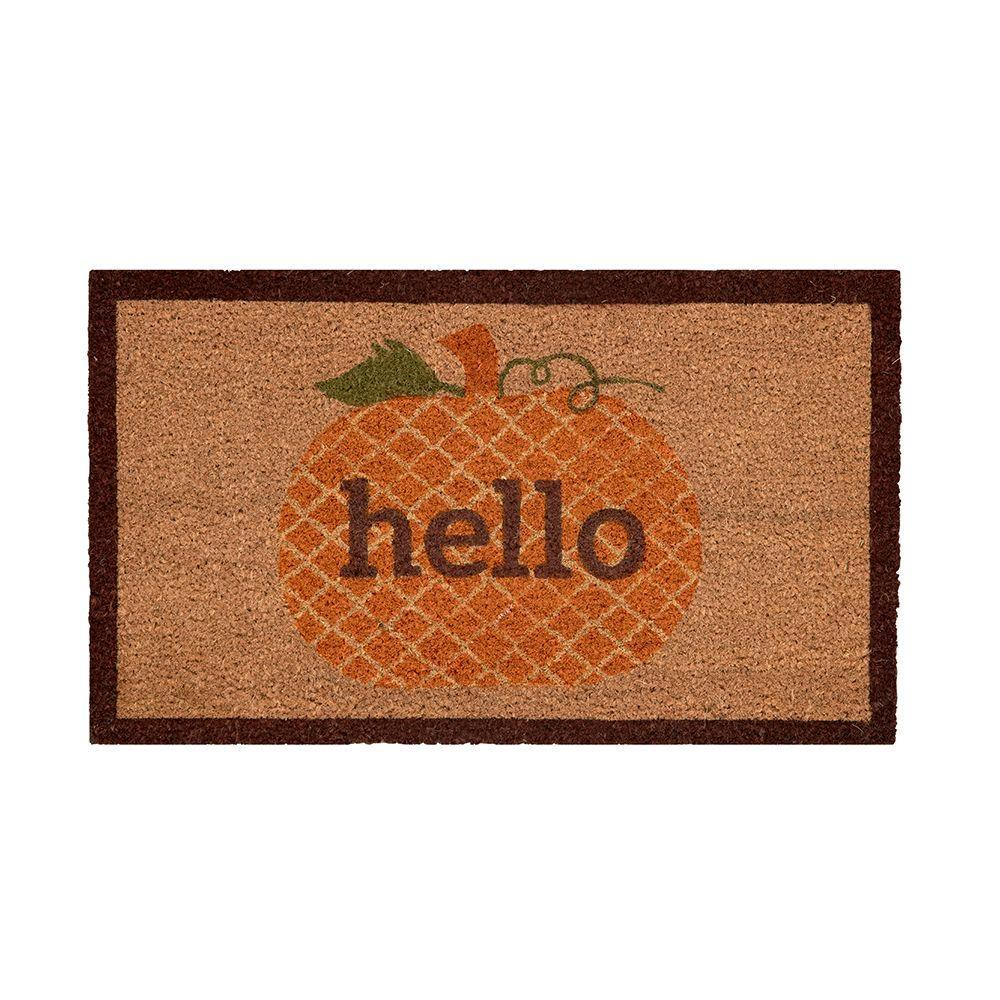 Pumpkin Greetings 17 in. x 29 in. Coir Door Mat