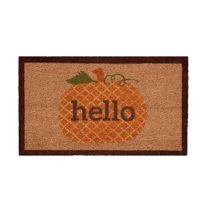 Pumpkin Greetings 17 in. x 29 in. Coir Door Mat