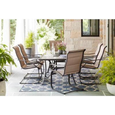 Crestridge 7-Piece Steel Padded Sling Outdoor Patio Dining Set in Putty Taupe