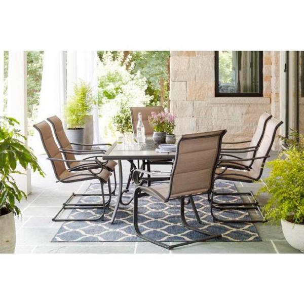 Hampton Bay Crestridge 7 Piece Steel Padded Sling Outdoor Patio Dining Set In Putty Taupe Fcs60610r St The Home Depot