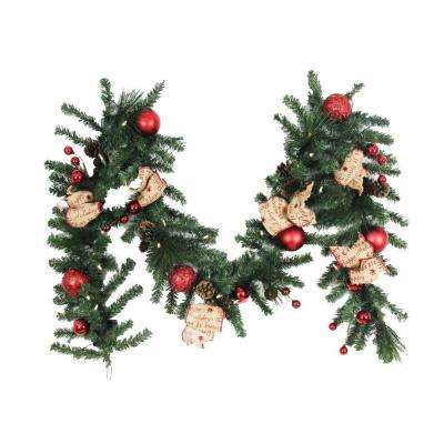 9 ft. Battery Operated Burlap Holiday Artificial Garland with 50 Clear LED Lights