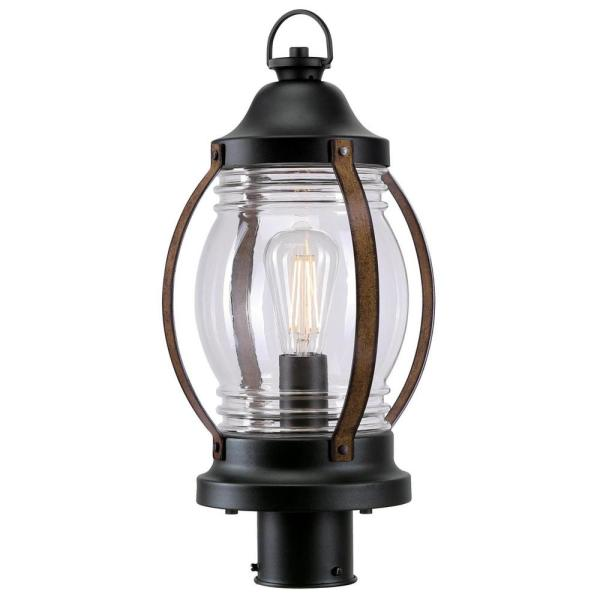 Canyon 1-Light Textured Black and Barnwood Outdoor Post Top Lantern with Clear Glass