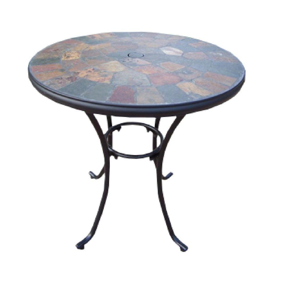 Oakland Living Stone Art 26 In. Patio Bistro Table 77103 CF   The Home Depot