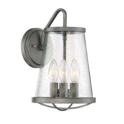 Darby 3-Light Weathered Iron Outdoor Wall Lantern Sconce