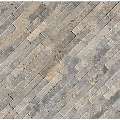 Silver Ash Veneer 8 in. x 18 in. x 10 mm Textured Travertine Mesh-Mounted Mosaic Tile (10 sq. ft. / case)