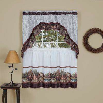 Woodlands Brown Printed Tier and Swag Window Curtain Set.