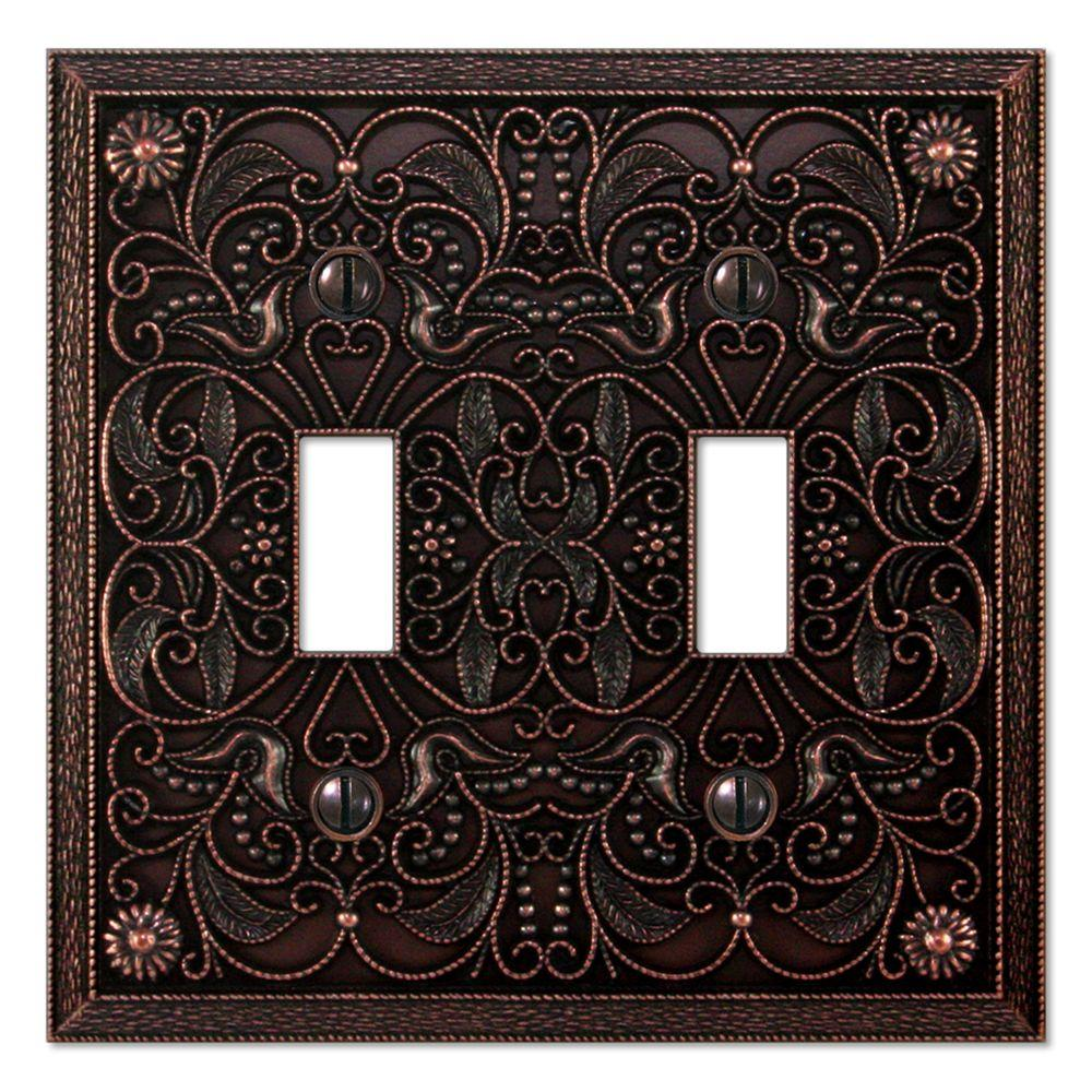 Creative Accents Steel 2 Toggle Wall Plate - Antique Bronze