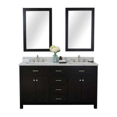 Norwalk 60 in. W x 34.2 in. H x 22 in. D Vanity in Espresso with Marble Vanity Top in White with White Basin