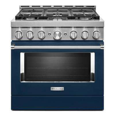36 in. 5.1 cu. ft. Smart Commercial-Style Gas Range with Self-Cleaning and True Convection in Ink Blue