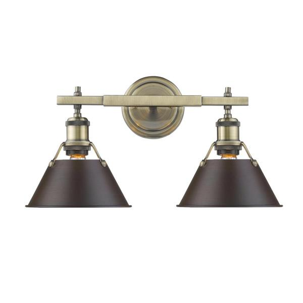 Orwell AB 2-Light Aged Brass Bath Light with Rubbed Bronze Shade