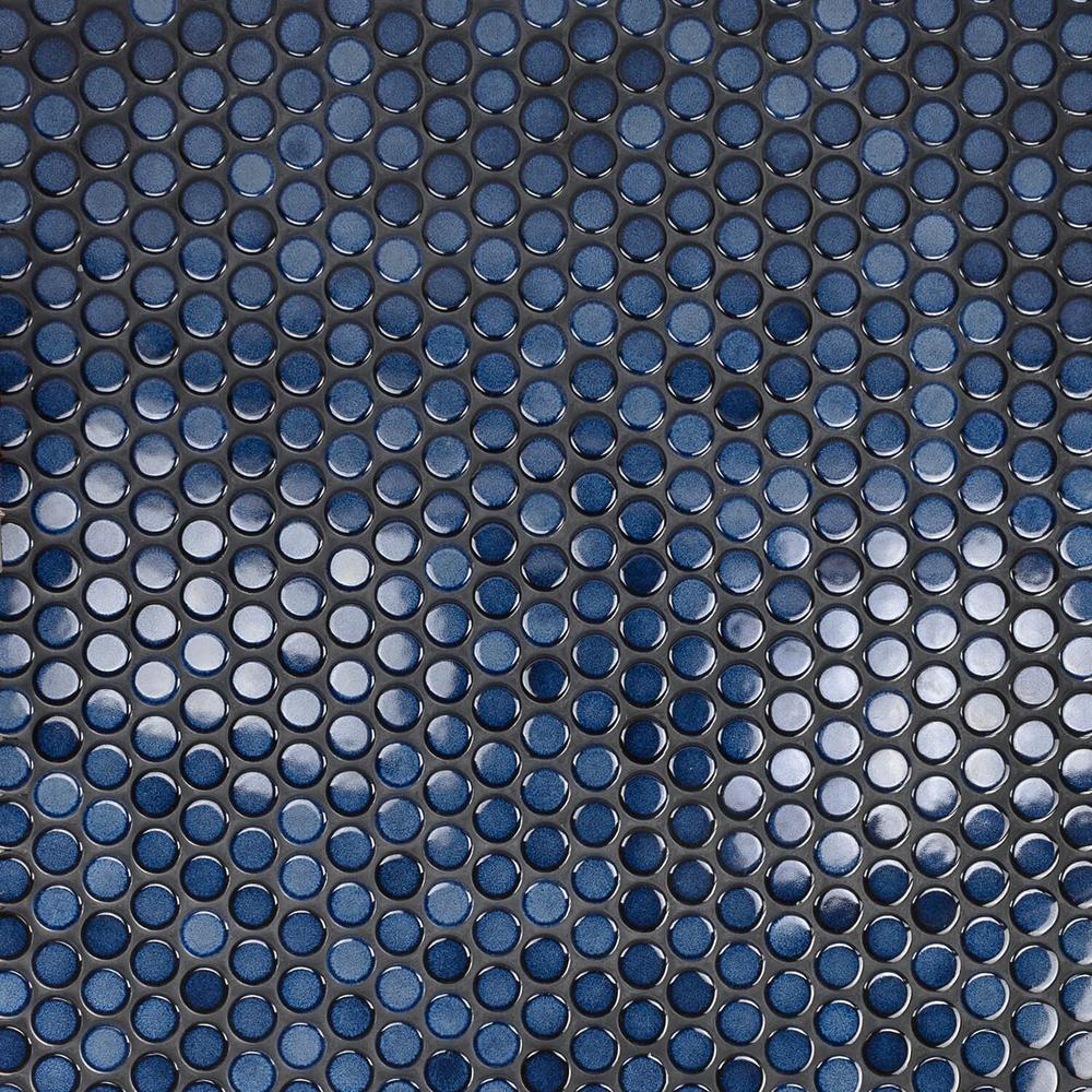 Ivy Hill Tile Joy Blue Circles 12.25 in. x 12.25 in. 6mm Polished Cermaic Mosaic Wall Tile (1.04 sq. ft. per Sheet)
